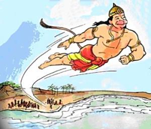 Hanuman terbang menuju Alengka sumber www indianetzone com